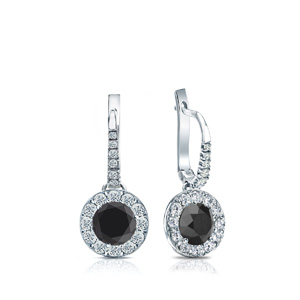 Certified 0.50 cttw Round Black Diamond Drop Earrings in 14k White Gold Halo (AAA)