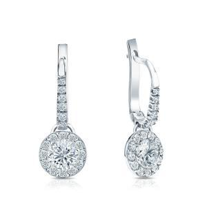 Certified 14k White Gold Halo Round Diamond Drop Earrings 0.50 ct. tw. (I-J, I1)