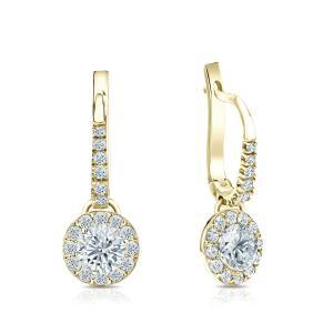 Certified 18k Yellow Gold Halo Round Diamond Drop Earrings 0.75 ct. tw. (I-J, I1)