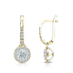 Certified 18k Yellow Gold Halo Round Diamond Drop Earrings 0.75 ct. tw. (I-J, I1)