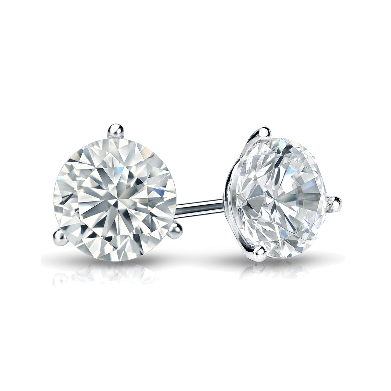 3-Prong Martini Diamond Stud Earrings in 14k White Gold