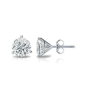3-Prong Martini Diamond Stud Earrings in 14k White Gold
