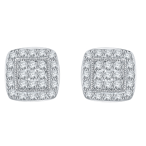 Certified 0.40 cttw Round Cut White Diamond Earrings in 10k White Gold
