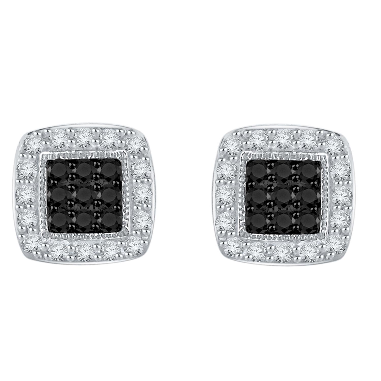 Certified 0.40 cttw Black & White Round Cut Diamond Earrings in 10k White Gold