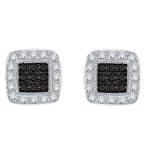 Certified 0.40 cttw Black & White Round Cut Diamond Earrings in 10k White Gold