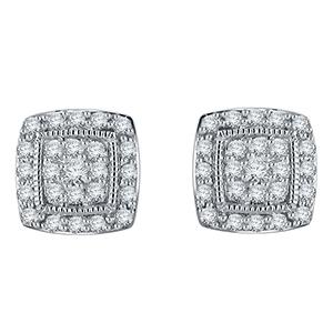 Certified 0.50 cttw Round Cut White Diamond Earrings in 10k White Gold