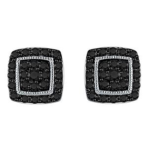 Certified 0.50 cttw Black Round Cut Diamond Earrings 10k White Gold
