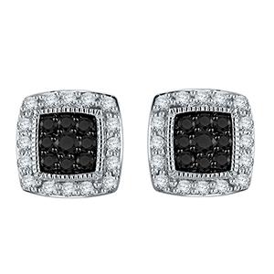 Certified 0.50 cttw Black & White Round Cut Diamond Earringsin 10k White Gold