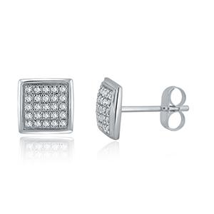 Certified 0.15 cttw Round Cut White Diamond Earrings in 10k White Gold