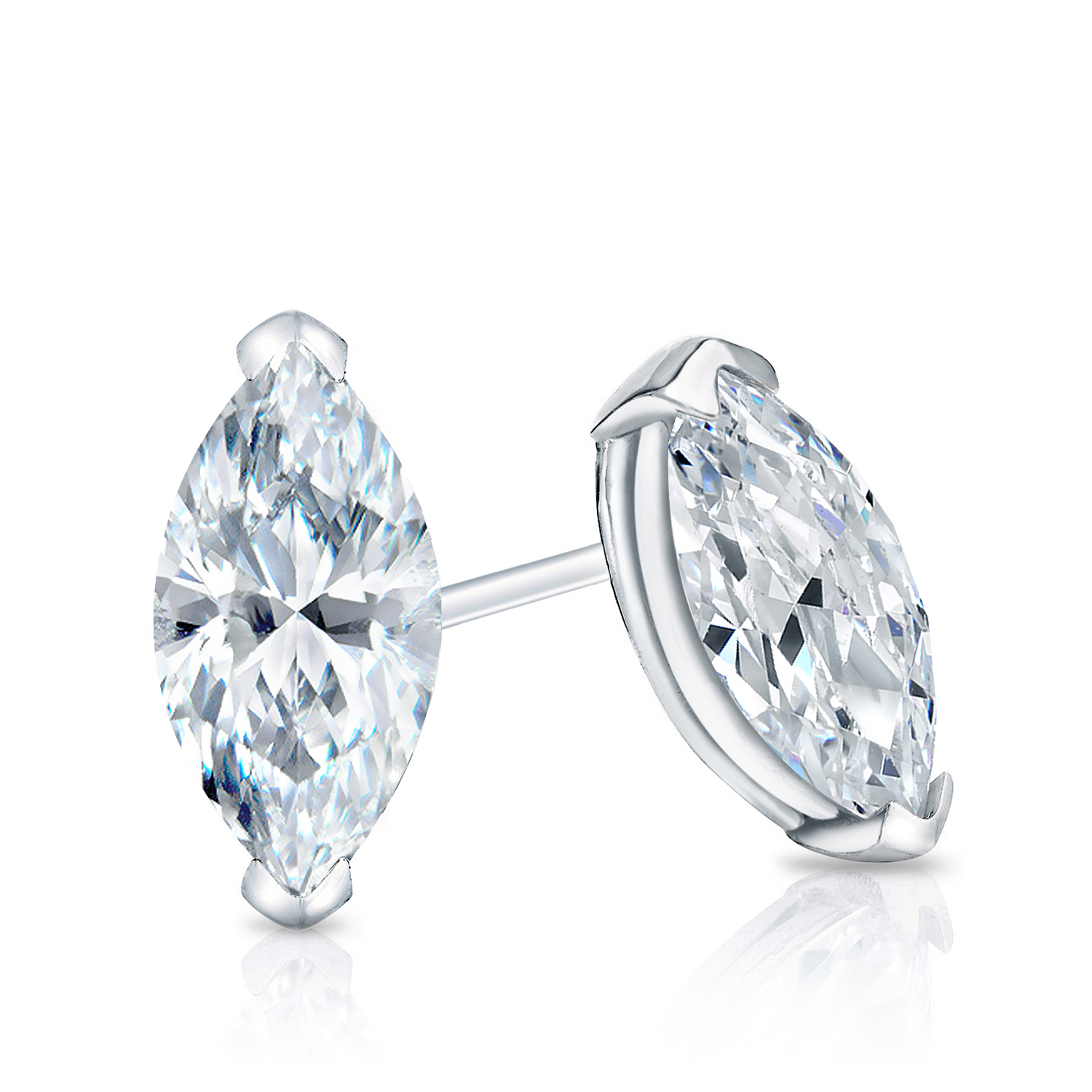 V-End Prong Diamond Stud Earrings in 14k White Gold