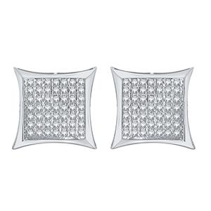 Certified 0.38 cttw  Round Cut White Diamond Earrings in 10k White Gold