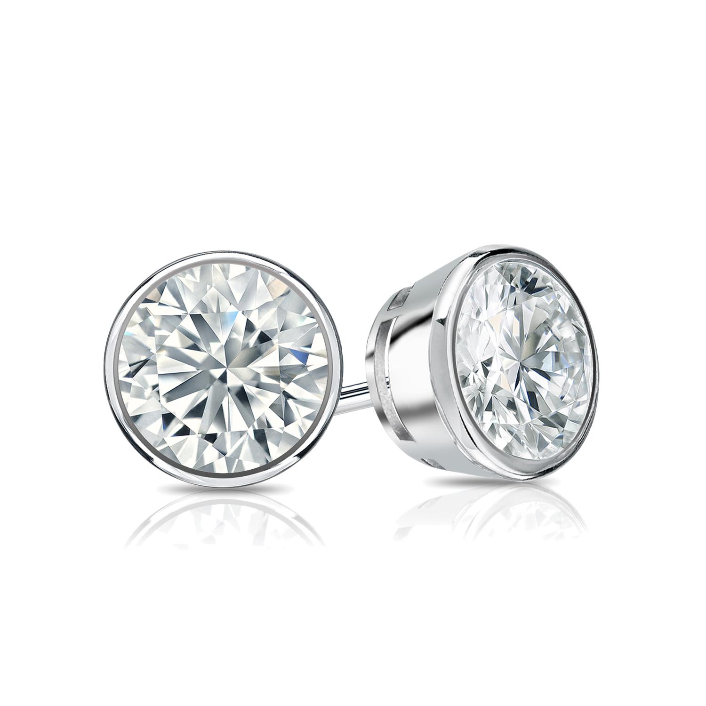 Bezel Diamond Stud Earrings in 14k White Gold