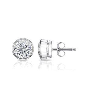 Bezel Diamond Stud Earrings in 14k White Gold