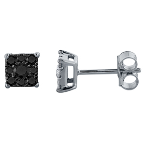 Certified 0.50 cttw  Black Round Cut Diamond Earrings in 10k White Gold