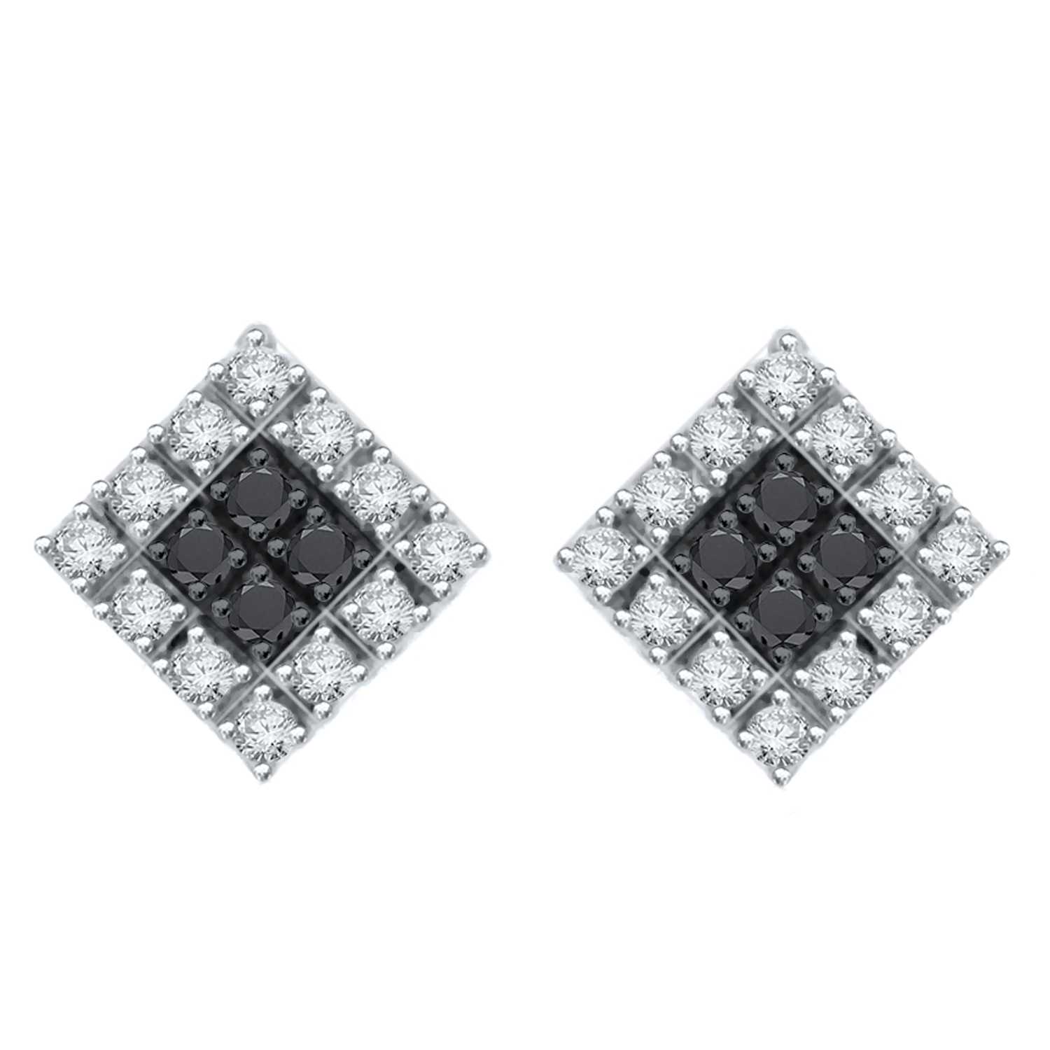 Certified 0.50 cttw Black & White Round Cut Diamond Earrings in 10k White Gold