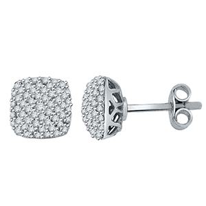 Certified 0.58 cttw Round Cut White Diamond Earrings in 10k White Gold