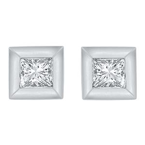 Certified 0.10 cttw Princess Cut White Diamond Earrings in 10k White Gold