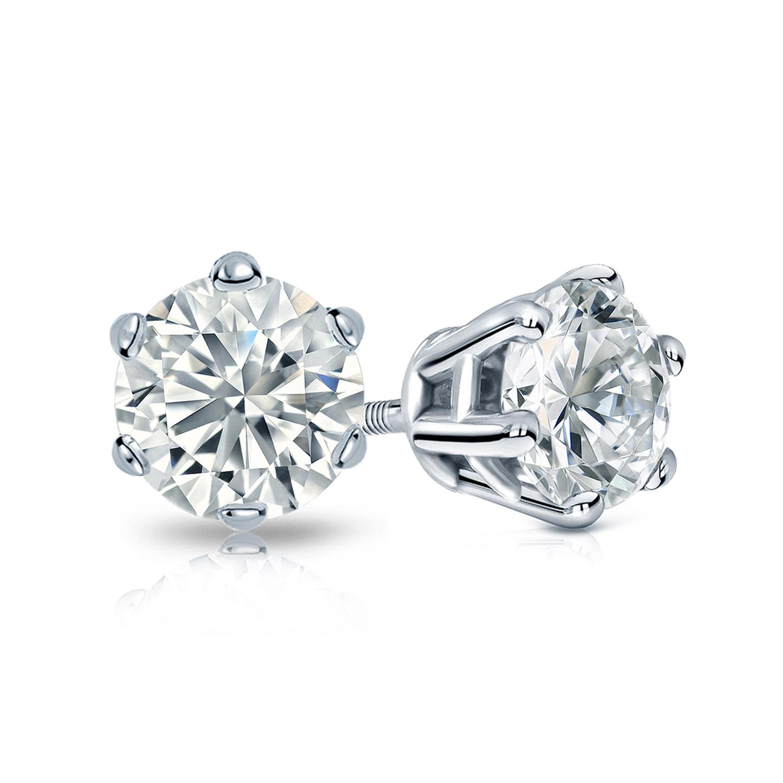 6-Prong Basket Diamond Stud Earrings in 14k White Gold