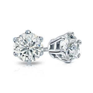 6-Prong Basket Diamond Stud Earrings in 14k White Gold