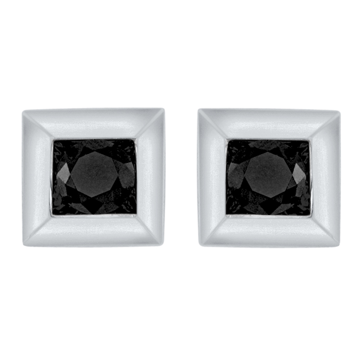 Certified 0.10 cttw Black Princess Cut Diamond Earrings in 10k White Gold