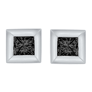 Certified 0.07 cttw Black Round Cut Diamond Earrings in 10k White Gold