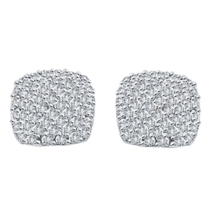 Certified 1.00 cttw Round Cut White Diamond Earrings in 10k White Gold