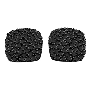 Certified 1.00 cttw Black Round Cut Diamond Earrings in 10k White Gold