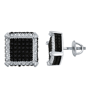 Certified 0.38 cttw Black & White Round Cut Diamond Earrings in 10k White Gold