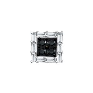 Certified 0.25 cttw Black & White Round & Emerald Cut SINGLE Diamond Earring in 10k White Gold