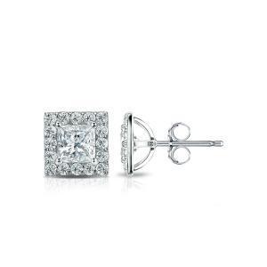 Halo Diamond Stud Earrings in 14k White Gold