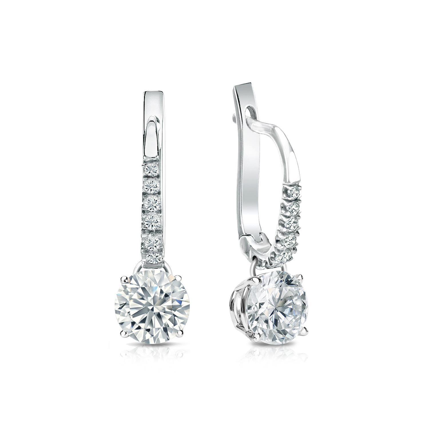 Dangle 4-Prong Basket Diamond Earrings in 14k White Gold