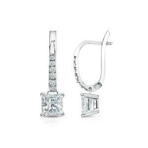 Dangle 4-Prong Basket Diamond Earrings in 14k White Gold