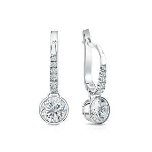 Dangle Bezel Diamond Earrings in 14k White Gold