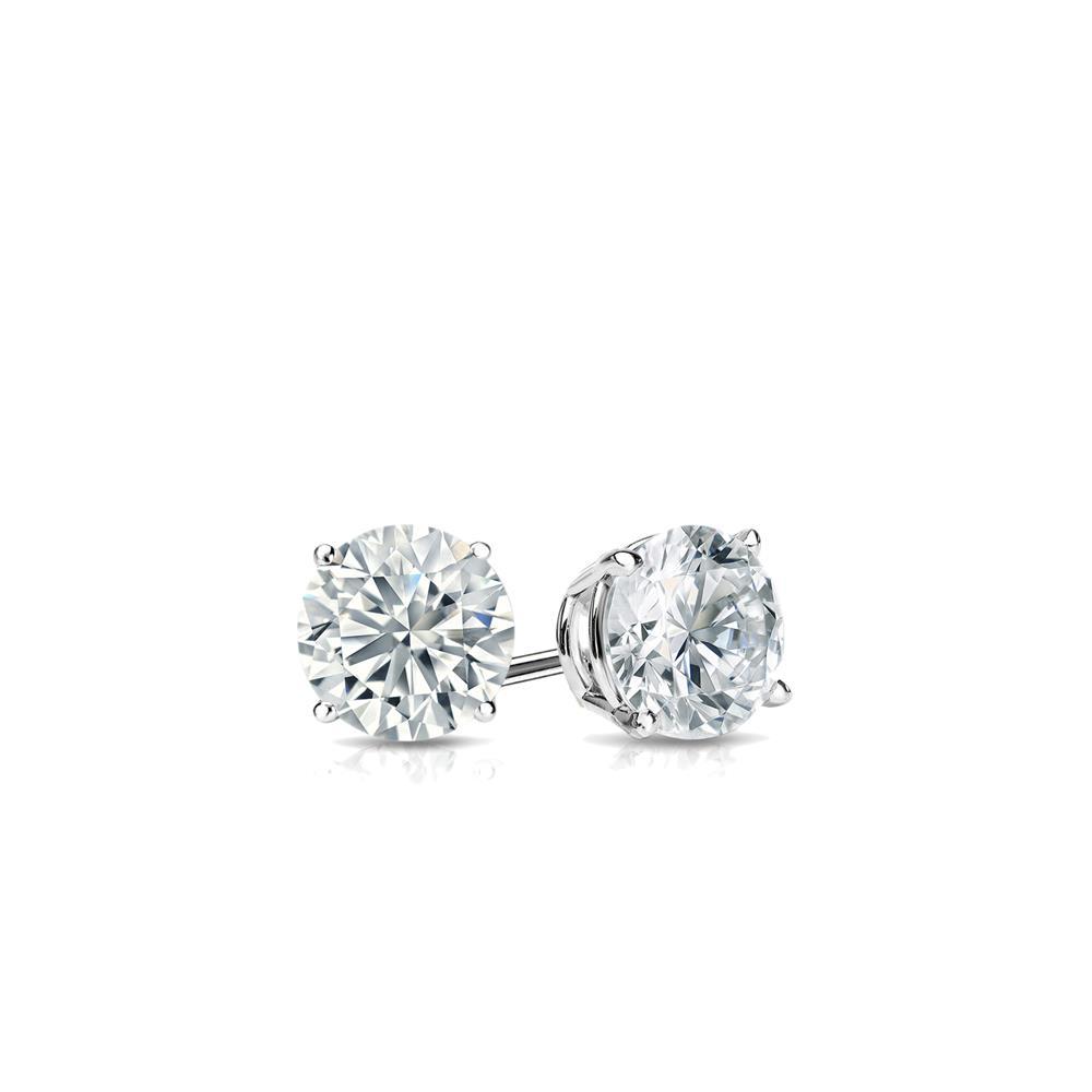 Certified 0.20 cttw Round Baby Diamond Stud Earrings in 14k White Gold 4-Prong Basket (I-J, I1)