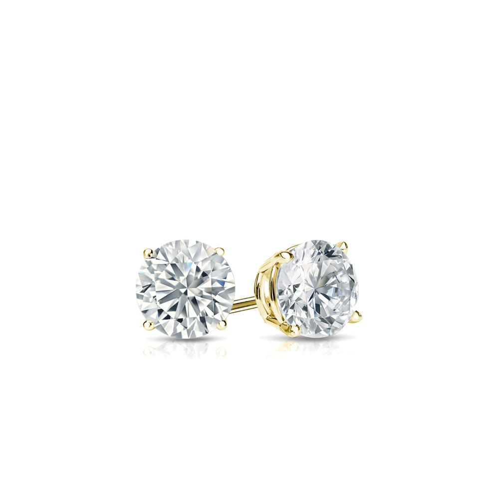 Certified 0.10 cttw Round Baby Diamond Stud Earrings in 18k Yelllow Gold 4-Prong Basket (I-J, I1)