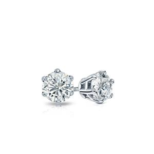 Certified 0.20 cttw Round Baby Diamond Stud Earrings in 14k White Gold 6-Prong basket (I-J, I1)