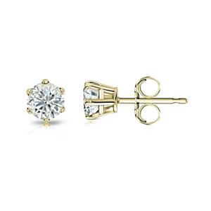 Certified 0.05 cttw Round Baby Diamond Stud Earrings in 18k Yelllow Gold 6-Prong basket (I-J, I1)