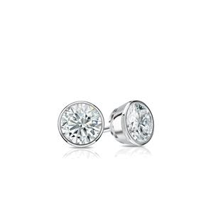 Certified 0.10 cttw Round Baby Diamond Stud Earrings in 14k White Gold Bezel (I-J, I1)