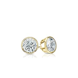 Certified 0.20 cttw Round Baby Diamond Stud Earrings in 18k Yelllow Gold Bezel (I-J, I1)