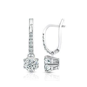 Dangle 6-Prong Basket Diamond Earrings in 14k White Gold