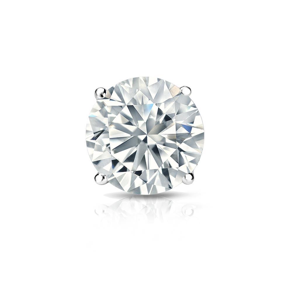 Certified 0.25 ct. tw. Round Diamond SINGLE Stud Earring in 18K White Gold 4-Prong Basket (I-J, I1)