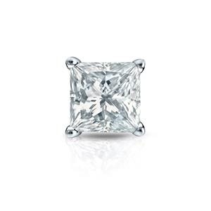 Certified 0.38 ct. tw. Princess Diamond SINGLE Stud Earring in 14K White Gold 4-Prong Basket (I-J, I1)