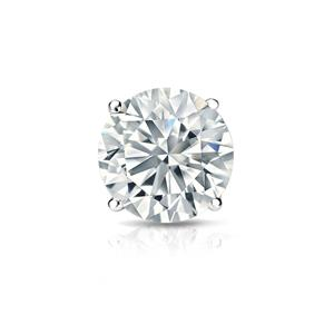 Certified 0.25 ct. tw. Round Diamond SINGLE Stud Earring in 18K White Gold 4-Prong Basket (I-J, I1)