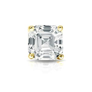 Certified 1.00 ct. tw. Asscher Diamond SINGLE Stud Earring in 14K Yellow Gold 4-Prong Basket (I-J, I1)