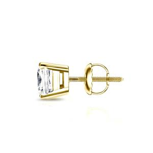 Certified 0.75 cttw Cushion Diamond SINGLE Stud Earring in 18k Yellow Gold 4-Prong Basket (I-J, I1)