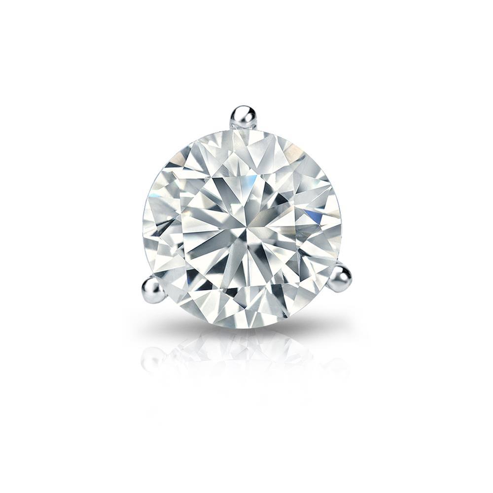Certified 0.38 ct. tw. Round Diamond SINGLE Stud Earring in Platinum 3-Prong Martini (I-J, I1)