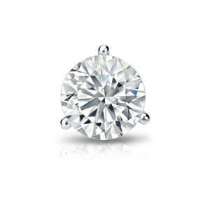 Certified 0.38 ct. tw. Round Diamond SINGLE Stud Earring in Platinum 3-Prong Martini (I-J, I1)