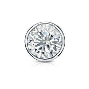 Certified 0.75 ct. tw. Round Diamond SINGLE Stud Earring in 14K White Gold Bezel (I-J, I1)