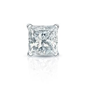 Certified 0.13 ct. tw. Princess Diamond SINGLE Stud Earring in Platinum 4-Prong Martini (I-J, I1)