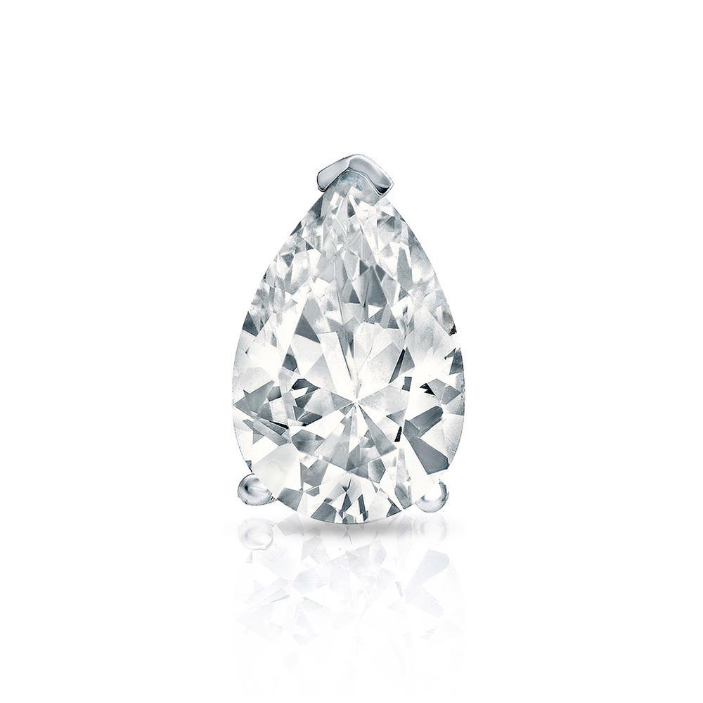 Certified 0.75 ct. tw. Pear Shape Diamond SINGLE Stud Earring in 14K White Gold V-End Prong  (I-J, I1)